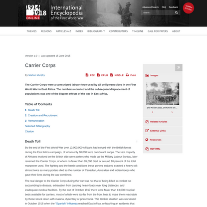 Carrier Corps   International Encyclopedia of the First World War (WW1)