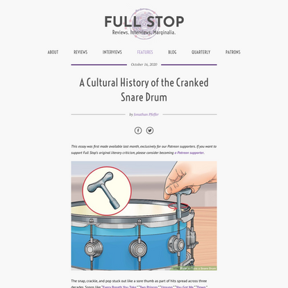 A Cultural History of the Cranked Snare Drum