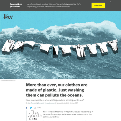 More than ever, our clothes are made of plastic. Just washing them can pollute the oceans.