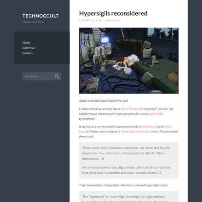 Hypersigils reconsidered   Technoccult