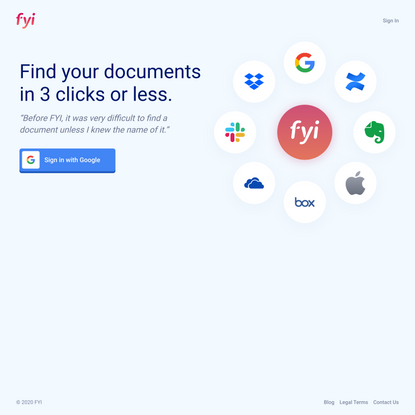 FYI - Search and organize all your documents in one place