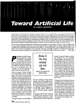 Chris Langton —Toward Artificial Life