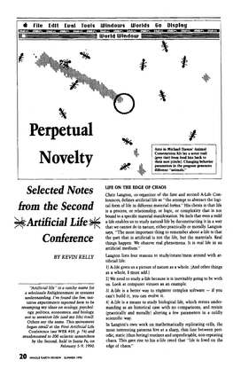 Kevin Kelly —Perpetual Novelty: Selected Notes from the Second Artificial Life Conference