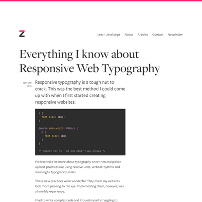 Everything I know about Responsive Web Typography
