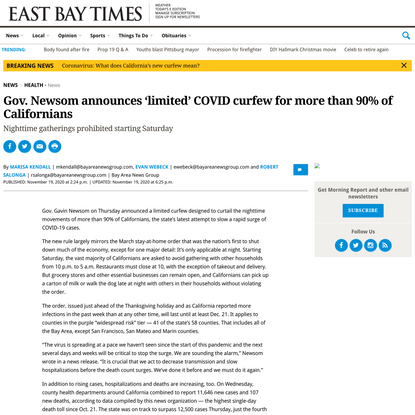 Gov. Newsom announces 'limited' COVID curfew for more than 90% of Californians