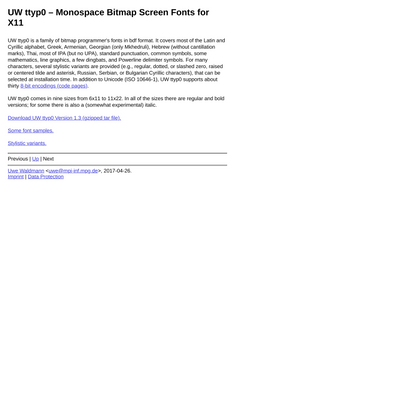 UW ttyp0 - Monospace Bitmap Screen Fonts for X11