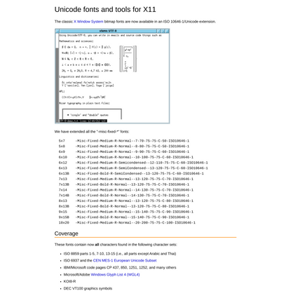 Unicode fonts and tools for X11