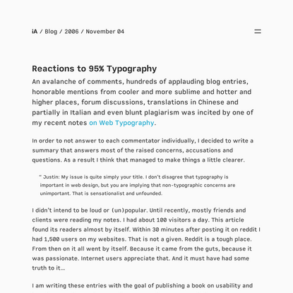 Reactions to 95% Typography - More on the Power of Web Typography