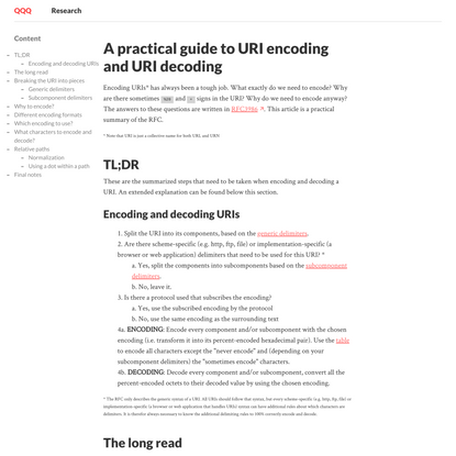 A practical guide to URI encoding and URI decoding