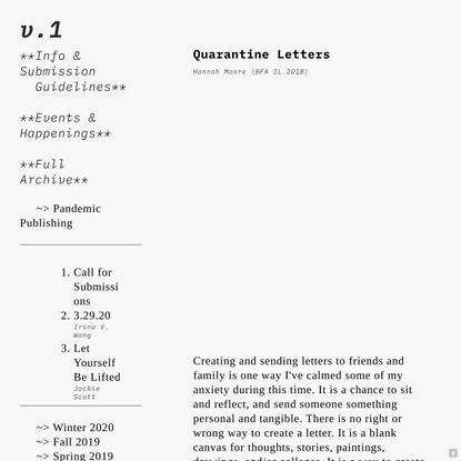 Quarantine Letters — volume 1