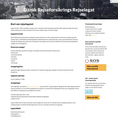 Dansk Rejseforsikrings Rejselegat - Danskrejseforsikring