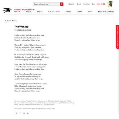 The Waking by Theodore Roethke | Poetry Foundation