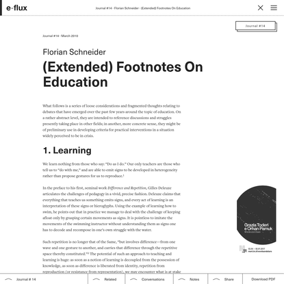 (Extended) Footnotes On Education - Journal #14 March 2010 - e-flux