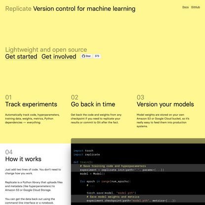 Replicate – Version control for machine learning