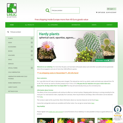 Homepage - Uhlig Kakteen - more than 5,000 different species
