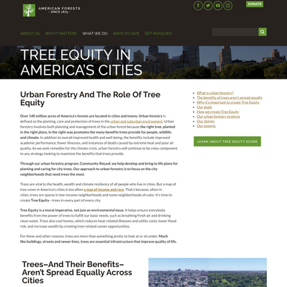 Tree Equity in America's Cities - American Forests