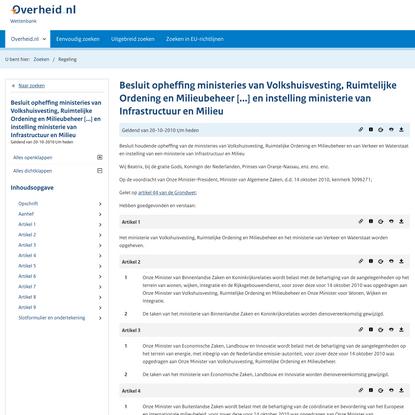 wetten.nl - Regeling - Besluit opheffing ministeries van Volkshuisvesting, Ruimtelijke Ordening en Milieubeheer [...] en ins...