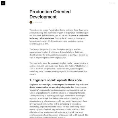 Production Oriented Development