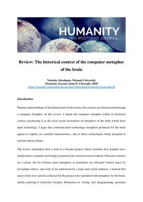 Natasha Abrahams, The historical context of the computer metaphor of the brain