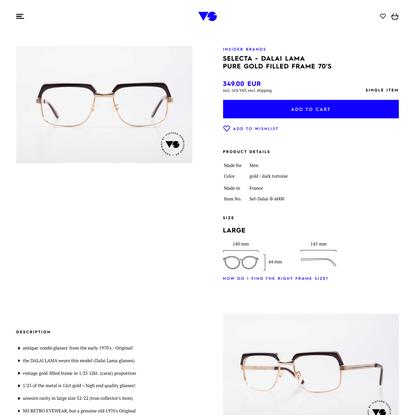 Glasses Selecta - Dalai Lama Pure Gold Filled Frame 70′s | Vintage Sunglasses