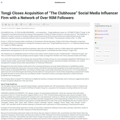 """Tongji Closes Acquisition of """"The Clubhouse"""" Social Media Influencer Firm with a Network of Over 90M Followers"""