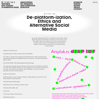 De-platform-ization, Ethics and Alternative Social Media | Display