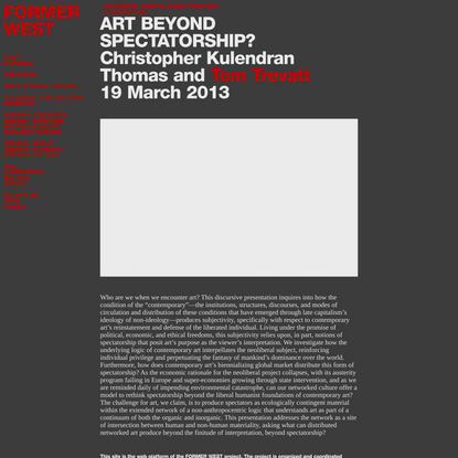 FORMER WEST – Art Beyond Spectatorship?
