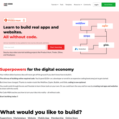 No Code MBA - Learn to build online without code