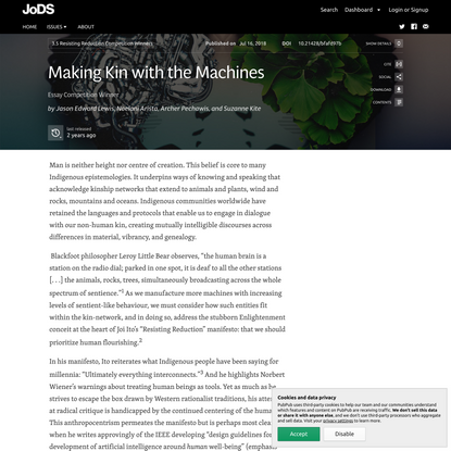 Making Kin with the Machines · Journal of Design and Science