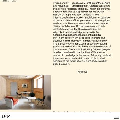 Residency – Bibliothek Andreas Züst