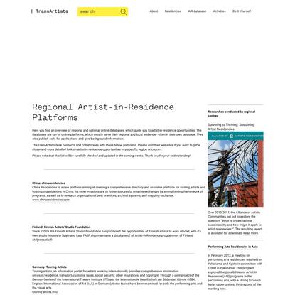 Regional Artist-in-Residence Platforms
