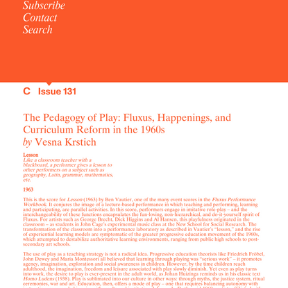 C Magazine / The Pedagogy of Play: Fluxus, Happenings, and Curriculum Reform in the 1960s