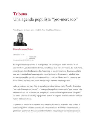 """Una agenda populista """"pro-mercado"""""""