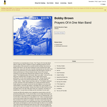 Bobby Brown - Prayers Of A One Man Band | Light In The Attic Records