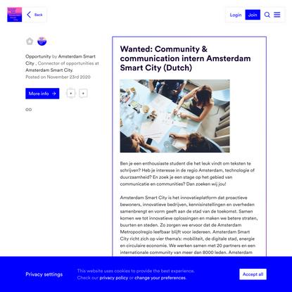 Wanted: Community & communication intern Amsterdam Smart City (Dutch)