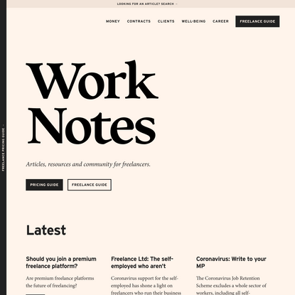 Articles, resources and community for freelancers   Work Notes
