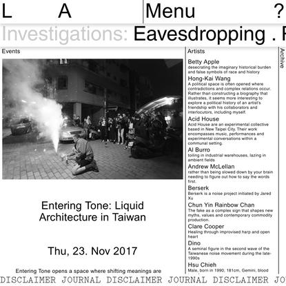 Entering Tone: Liquid Architecture in Taiwan | Liquid Architecture