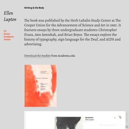Writing & the Body — ellenlupton