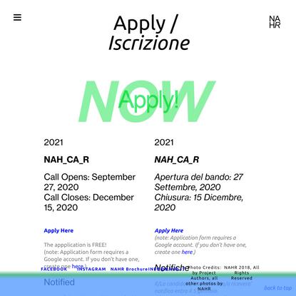 Apply / Iscrizione — nahr