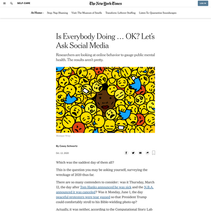 Is Everybody Doing … OK? Let's Ask Social Media