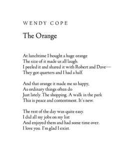 The Orange by Wendy Cope