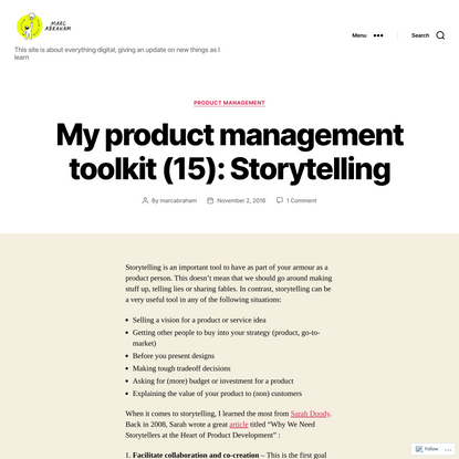 My product management toolkit (15): Storytelling
