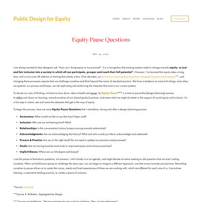 Equity Pause Questions — Public Design for Equity