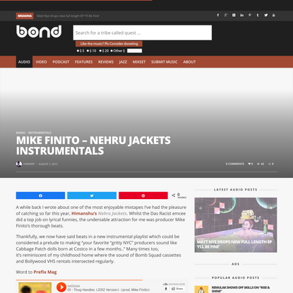 Mike Finito - Nehru Jackets Instrumentals - Word Is Bond