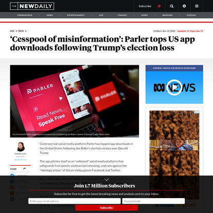 'Cesspool of misinformation': Parler surges following Trump's election loss