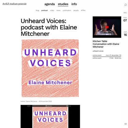Unheard Voices: podcast with Elaine Mitchener