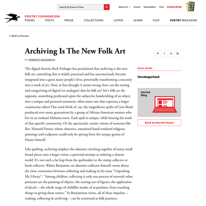 Archiving Is The New Folk Art by Kenneth Goldsmith   Poetry Foundation