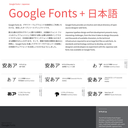 Google Fonts + Japanese • Google Fonts + 日本語