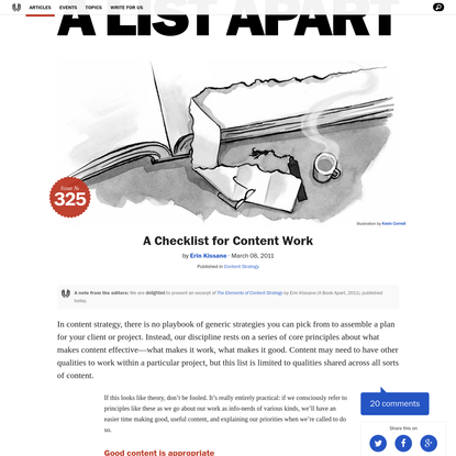 A Checklist for Content Work
