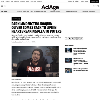 Parkland victim Joaquin Oliver comes back to life in heartbreaking plea to voters